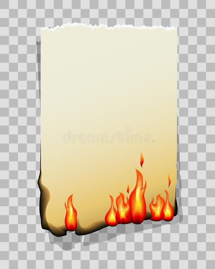 Burning sheet of paper on transparent. Vector Illustration. Burning sheet of paper isolated on transparent background. Vector Illustration vector illustration
