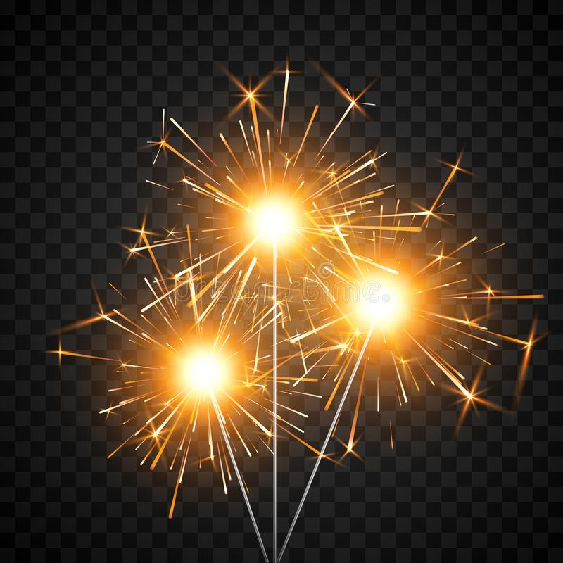 Burning shiny sparkler firework. Bengal fire. Party decor element. Magic light. Realistic light effect. Vector illustration. Isolated on black background stock illustration