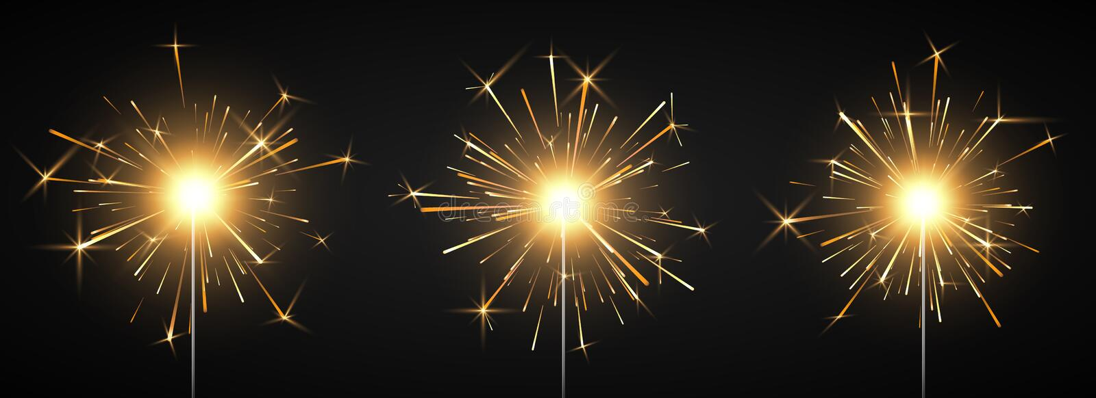Burning shiny sparkler firework. Bengal fire. Party decor element. Magic light. Vector illustration isolated on black background.  vector illustration