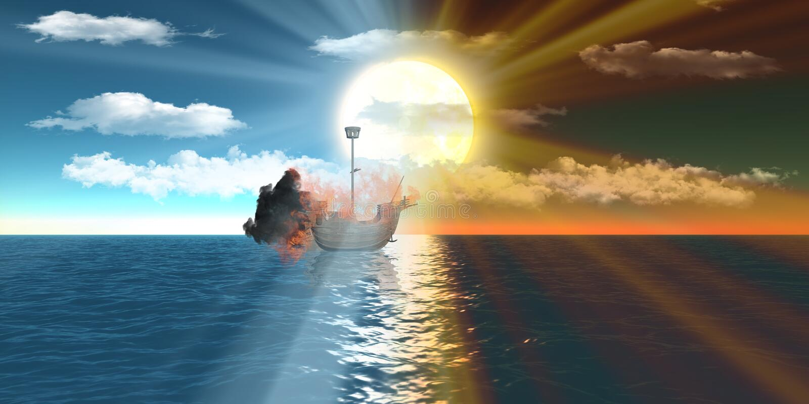 Burning Ships Over Sea At Day And Sunset Stock Photography