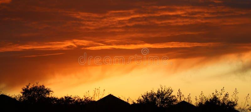 Burning skies at Haynes City Florida stock photography