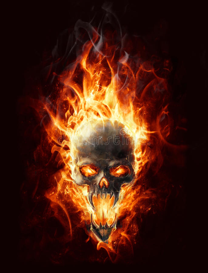 Burning skull royalty free illustration