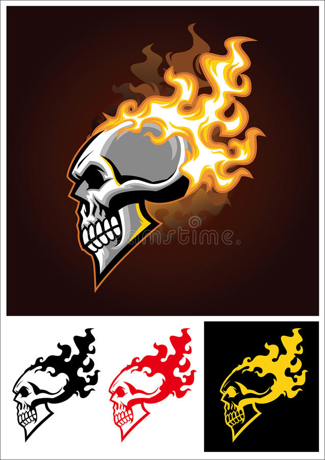 Burning skull. Vector of burning skull, available also in a one color version stock illustration