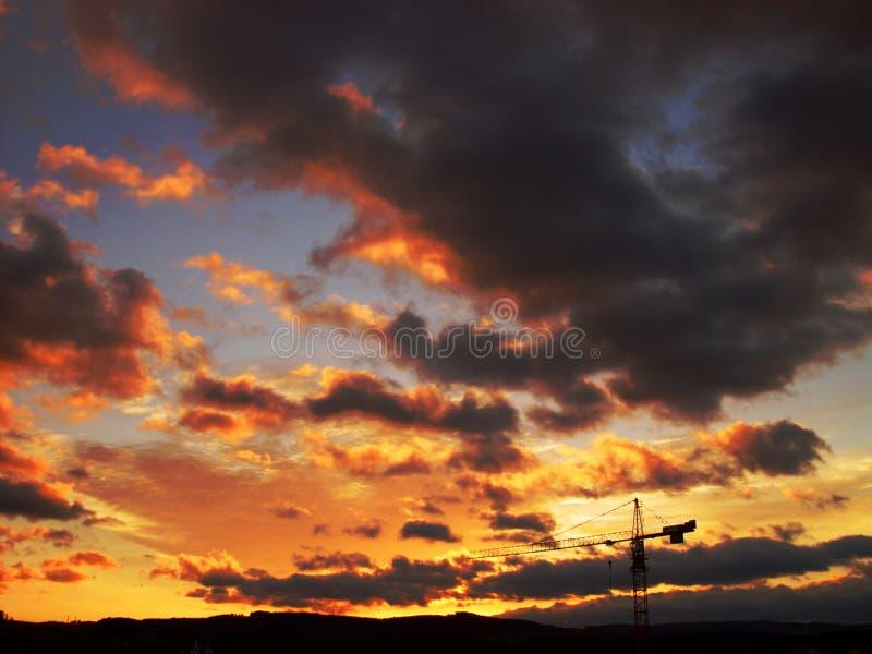 burning sky arkivbild