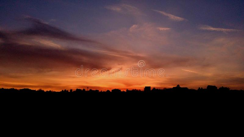 Burning sky over the Belgrade royalty free stock photo