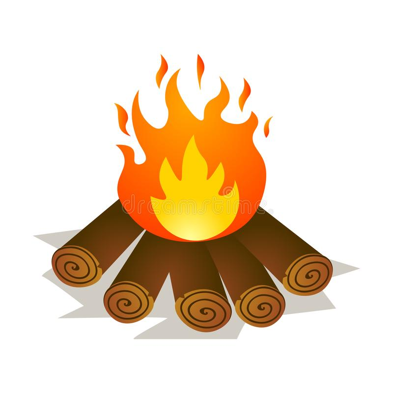 Burning small campfire with cutted wood at wild forest. Burning small hot campfire with cutted wood at wild forest. Cartoon style. Vector illustration on white vector illustration