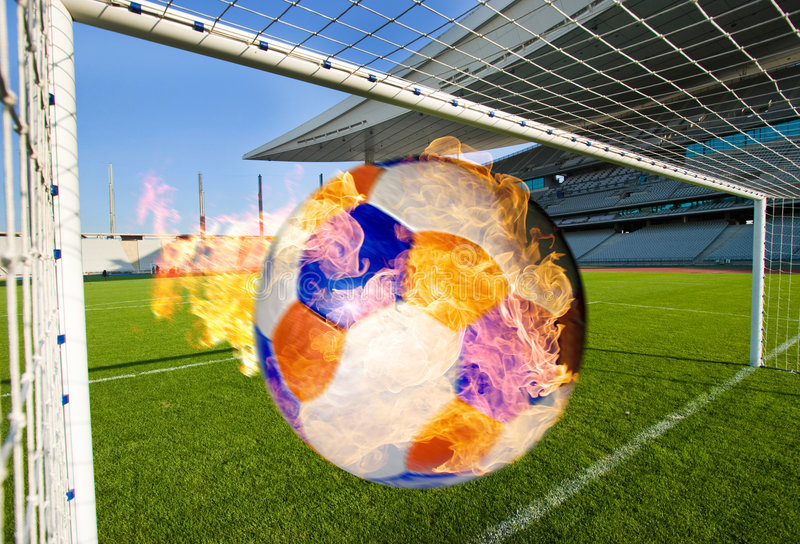 Burning Soccer Ball Coming royalty free stock photography