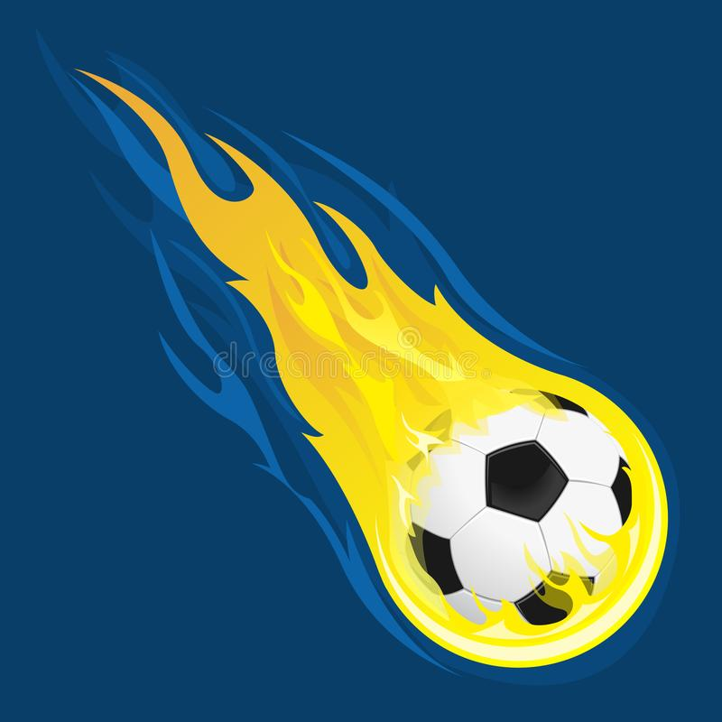 Burning soccer ball royalty free illustration