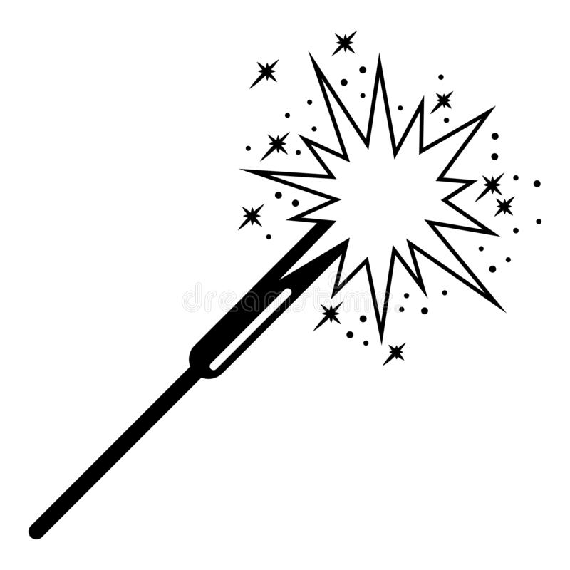Burning sparkler icon, simple style royalty free illustration