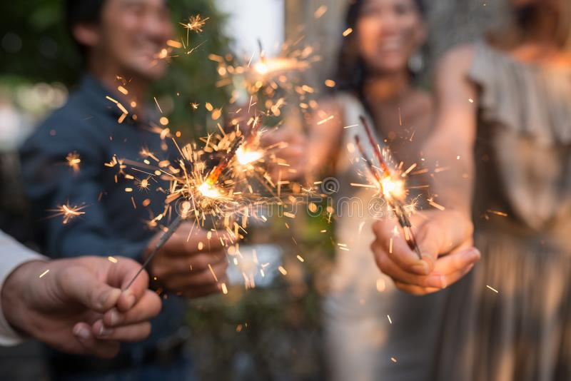 Burning sparklers royalty free stock images