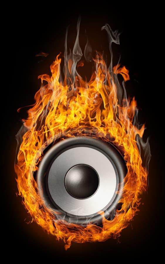Burning speaker - music style royalty free stock photo