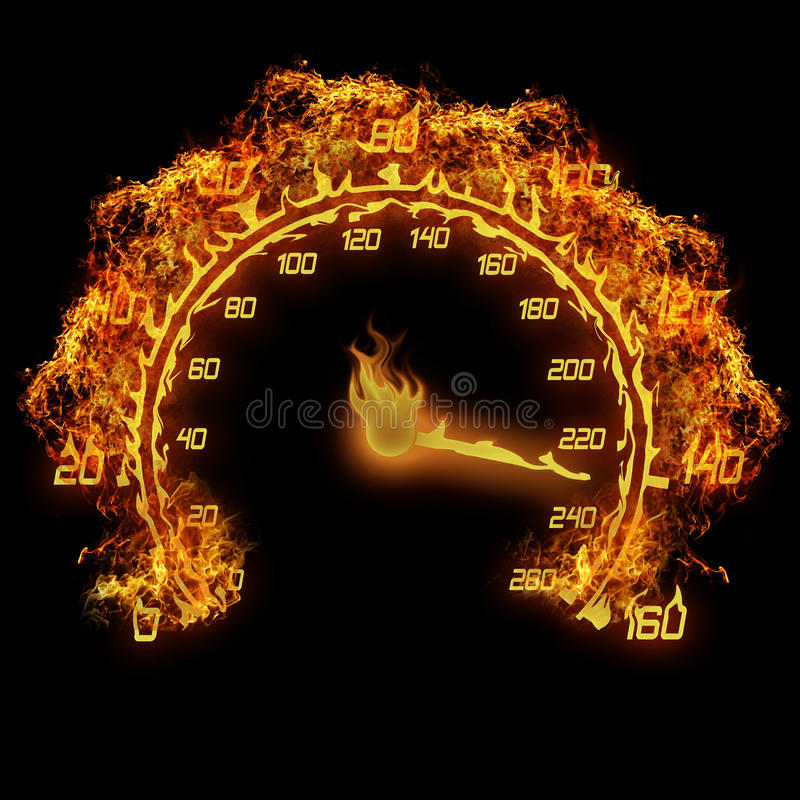 Burning speedometer stock illustrationer