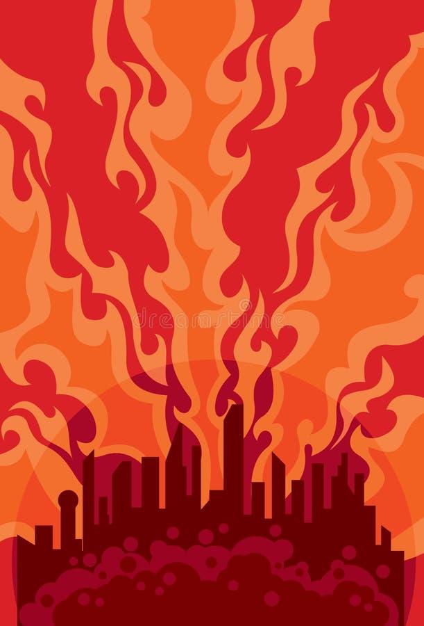 burning stadssundown för bakgrund stock illustrationer