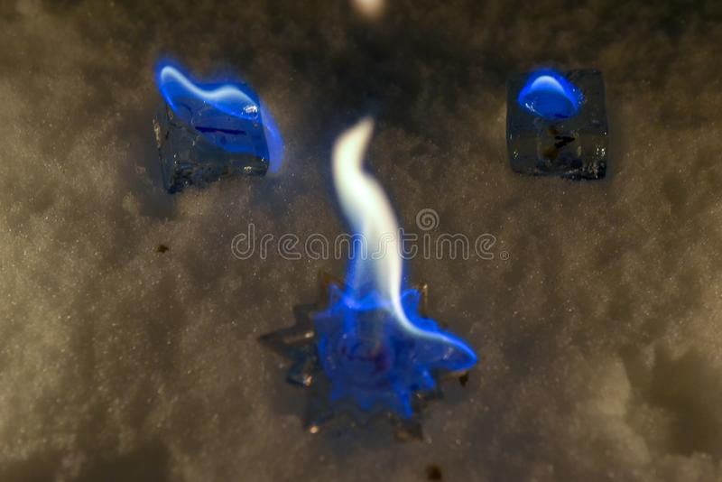 Burning star candle royalty free stock photo