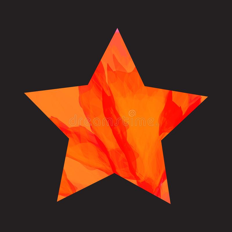 Burning Star. Vector Illustration. Bright Flames In the Form of Star on Black Texture Original Flat Design. Vivid Flaming Polygon Isolated stock illustration