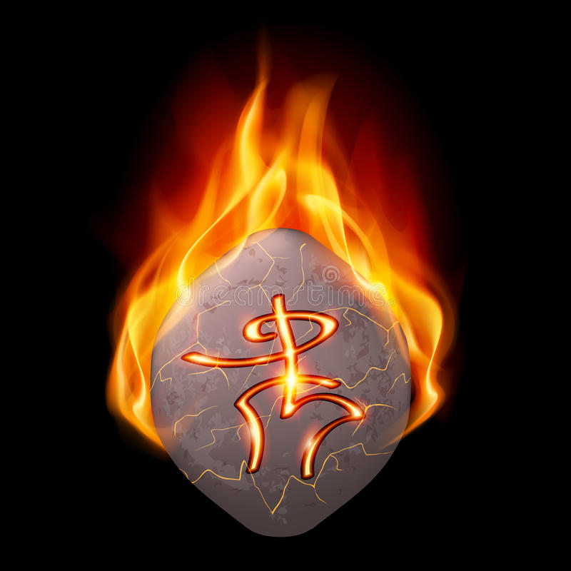 Burning stone with magic rune. Ancient stone with magic rune burning in orange flame royalty free illustration