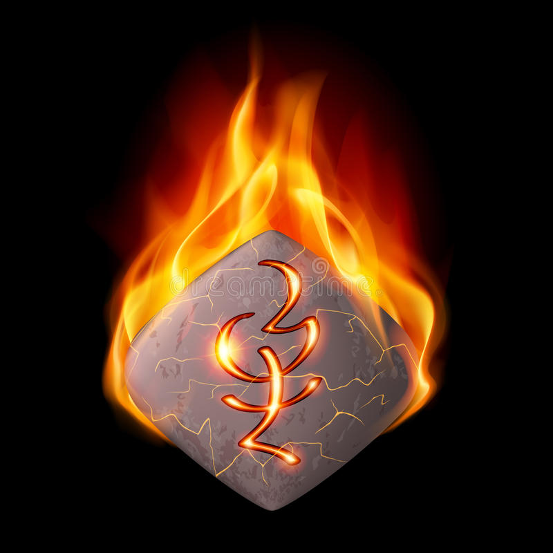 Burning stone with magic rune. Diamond-shaped mysterious stone with magic rune in orange flame vector illustration