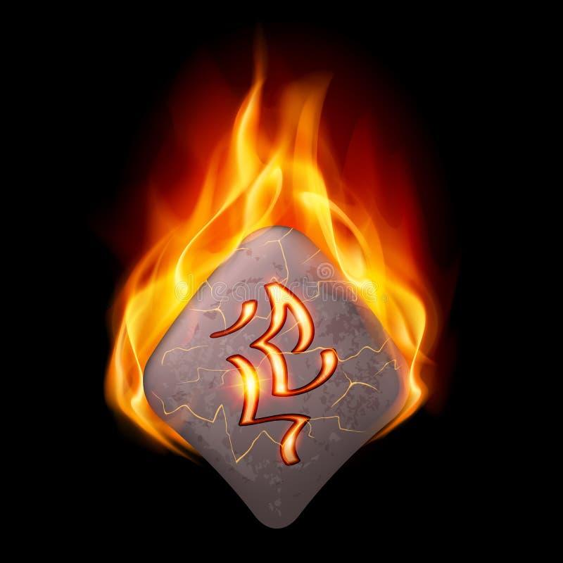 Burning stone with magic rune. Mysterious rhombus stone with magic rune in orange flame stock illustration