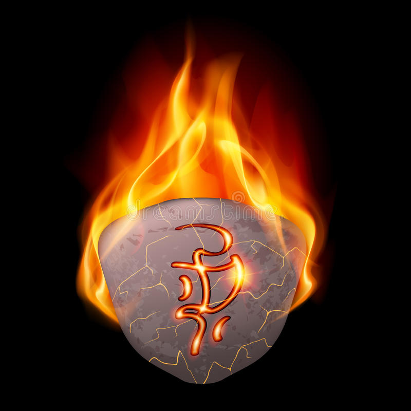 Burning stone with magic rune. Mysterious rough stone with magic rune in orange flame royalty free illustration