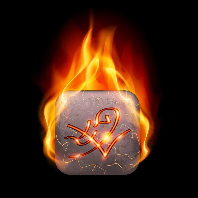 Burning stone with magic rune. Quadrangular stone with magic rune in orange flame stock illustration