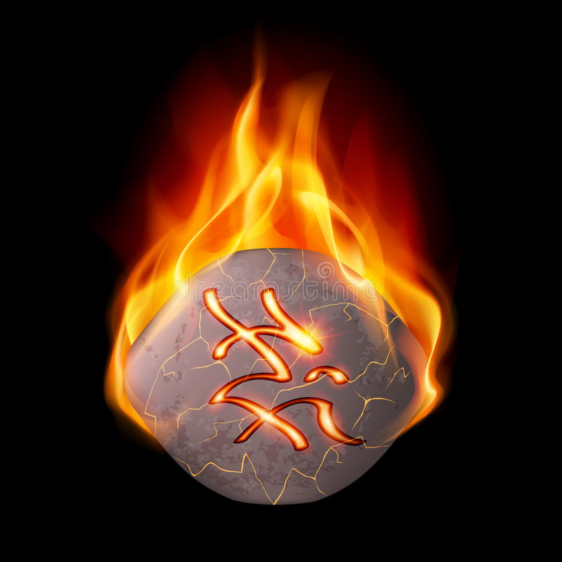 Burning stone with magic rune. Rough and cracked stone with magic rune in orange flame royalty free illustration