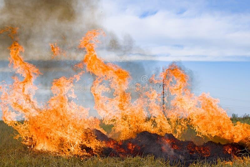 Burning straw royalty free stock images
