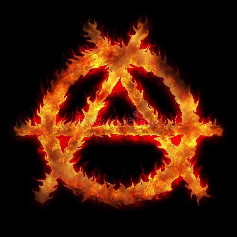 burning tecken för anarki stock illustrationer