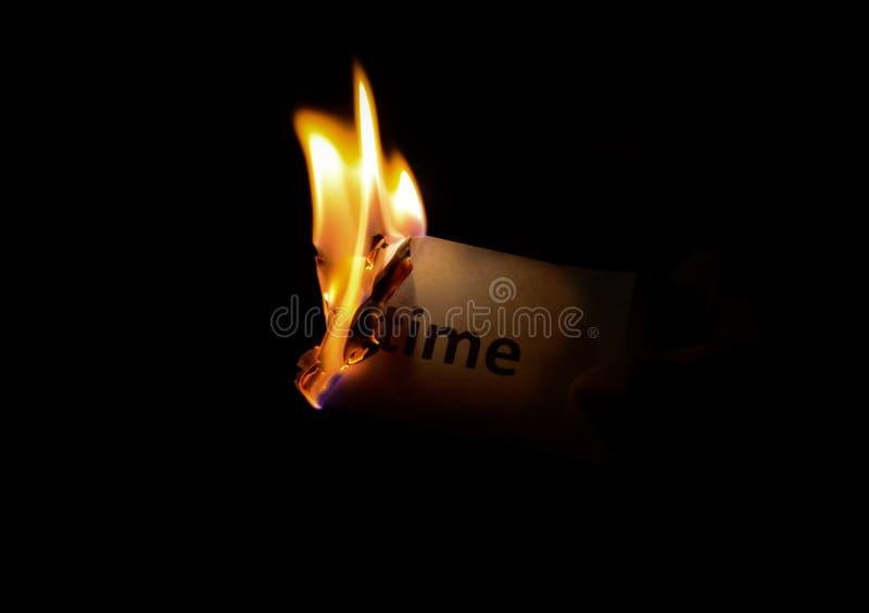 Burning time stock image