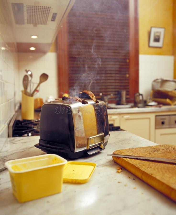 Burning toast royalty free stock photo
