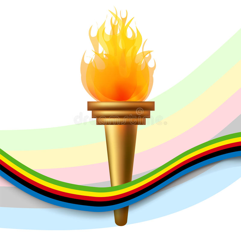 Burning torch with olympic flag stock illustration