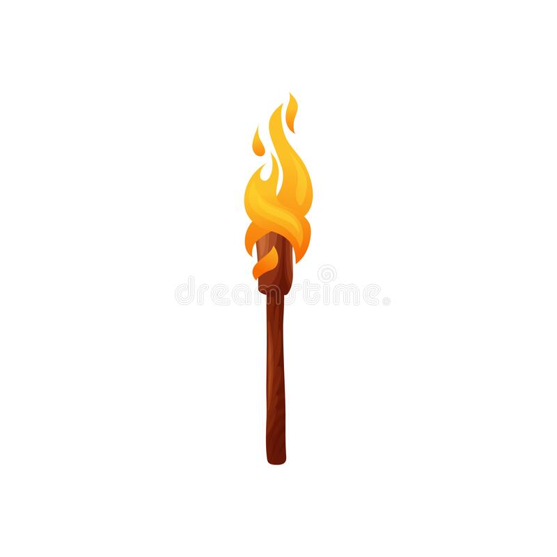 Free Burning Torch On Wooden Handle Isolated Ignite Stock Photo - 214291180