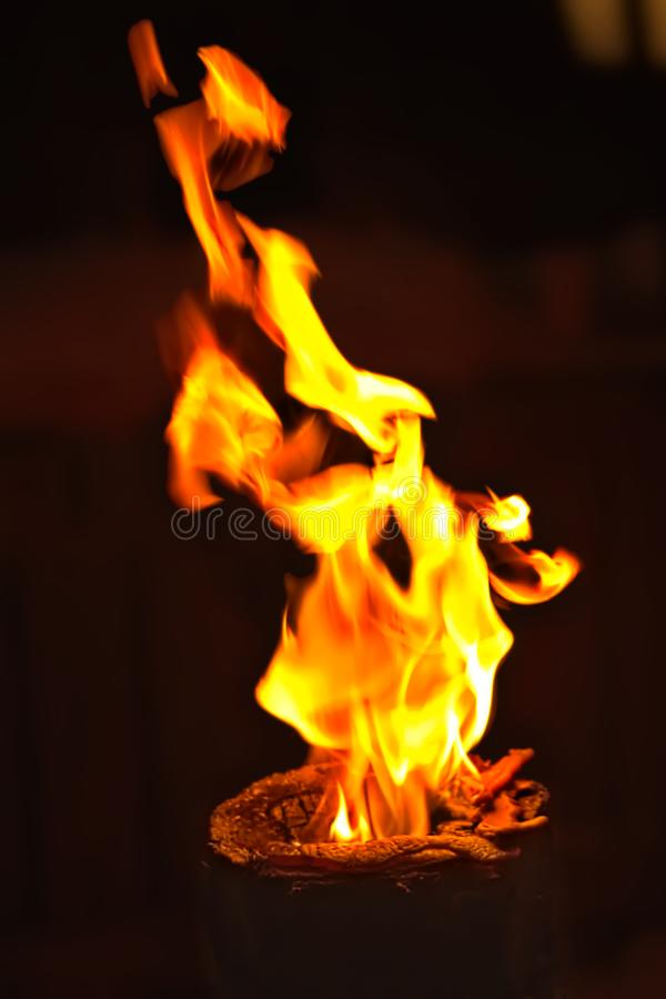 Burning torch in the dark royalty free stock photos