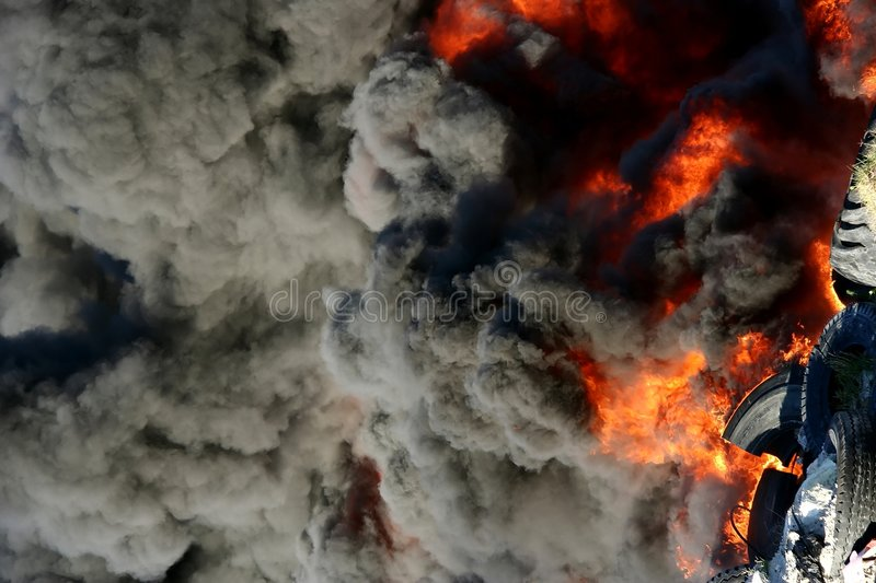 Download Burning Tyres stock image. Image of discarded, smoke, flames - 2585675