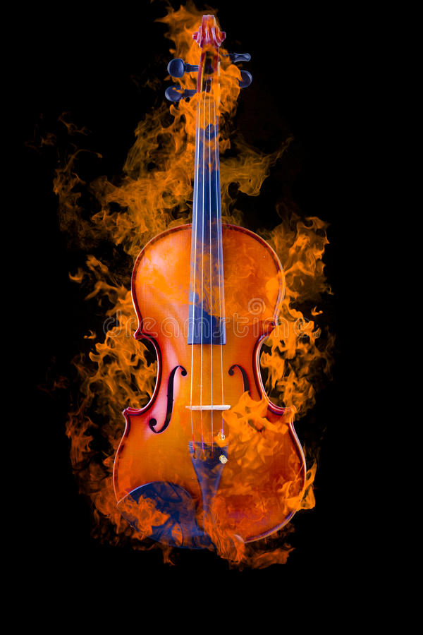 Burning violin royalty free stock images