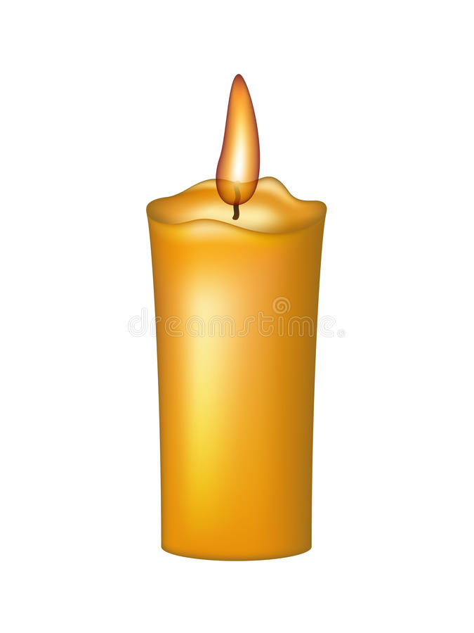 Burning wax candle. Isolated on white background royalty free illustration