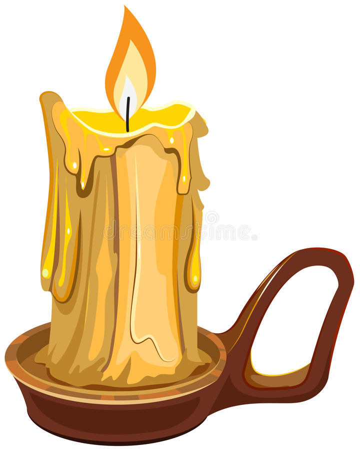 Burning wax candle in a stand. Illustration in vector format royalty free illustration
