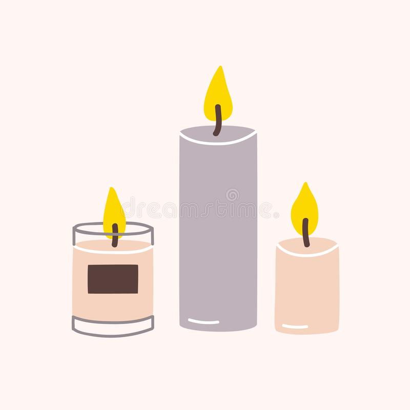 Burning wax or paraffin aromatic candles for aroma therapy isolated on light background. Cute hygge home decoration royalty free illustration