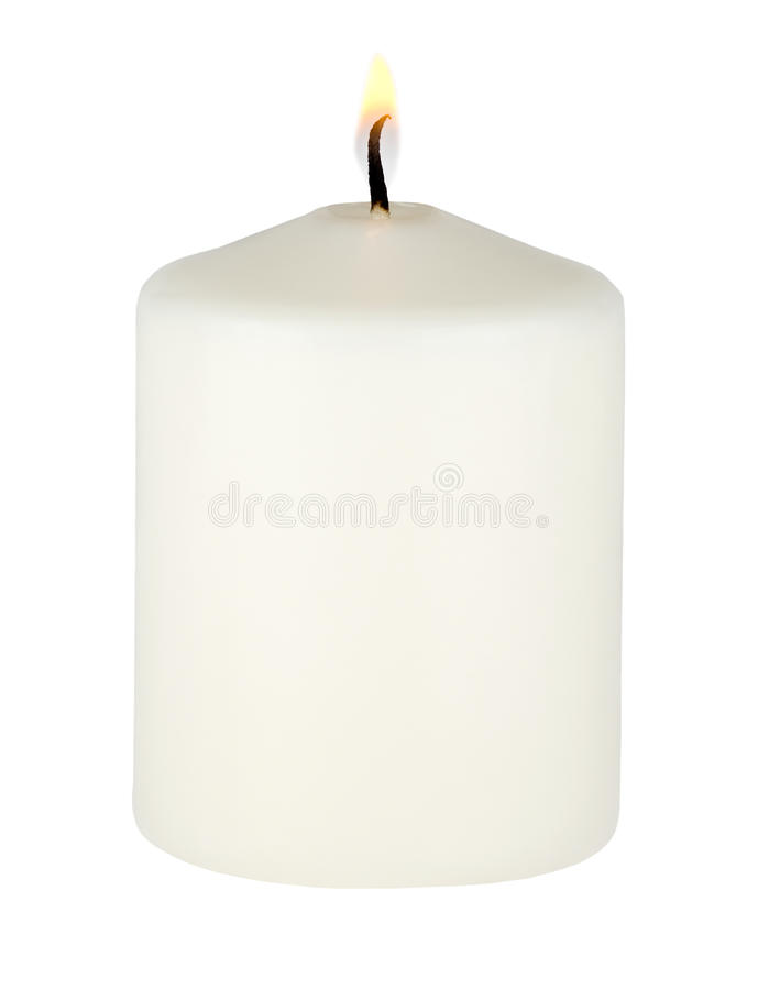 Burning white candle royalty free stock photography