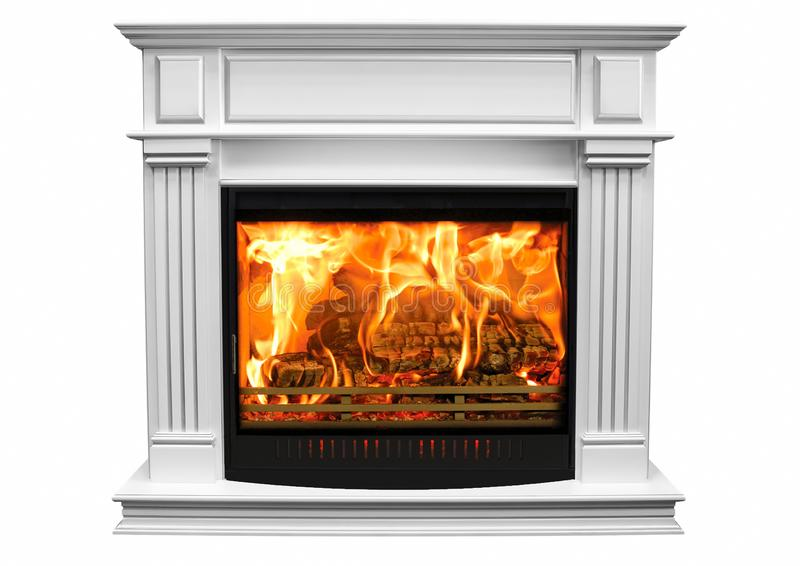 Burning white fireplace isolated on white background.  royalty free stock images