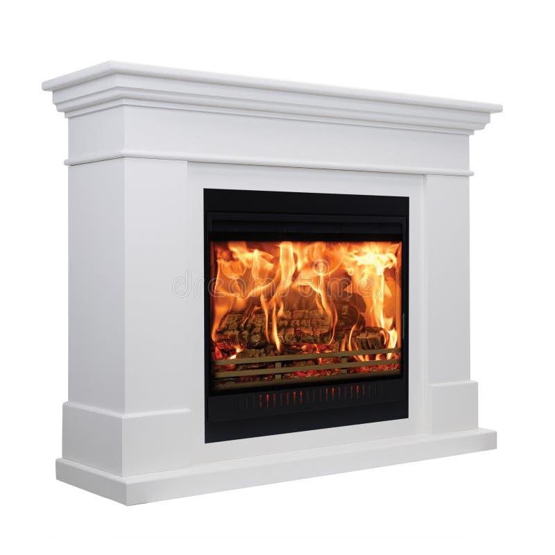Burning white fireplace isolated on white background.  stock image