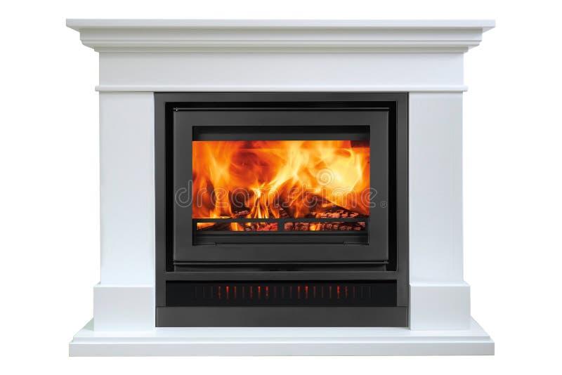 Burning white fireplace isolated on white background.  royalty free stock image