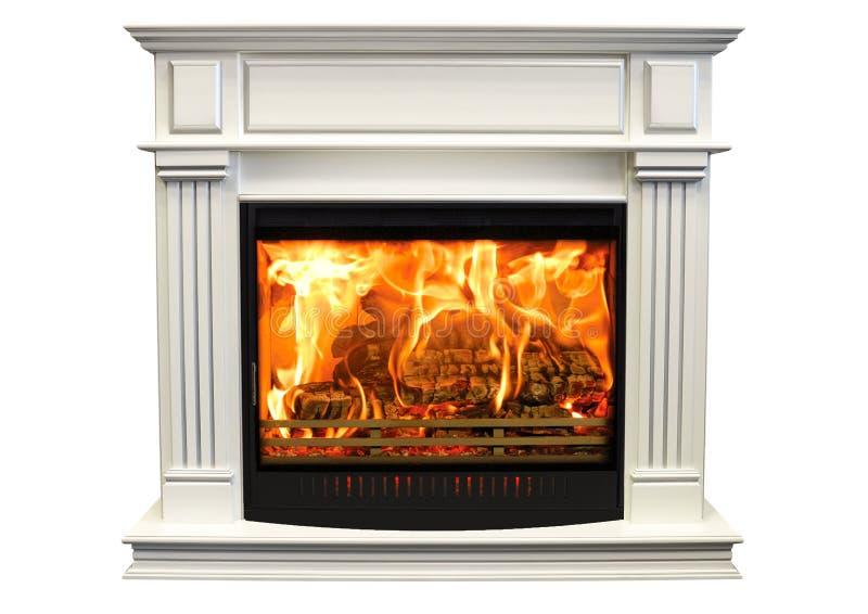Burning white fireplace isolated on white background.  stock images
