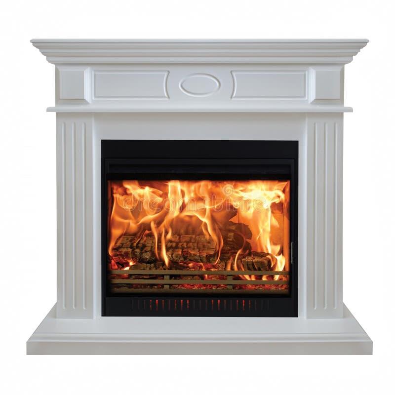 Burning white fireplace isolated on white background.  royalty free stock photo