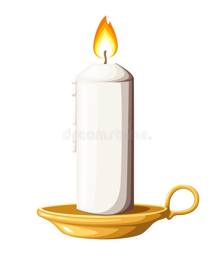 Burning white wax candle on candlestick. Glowing in flat style. Gold candle stand illustration isolated on white background.  stock illustration