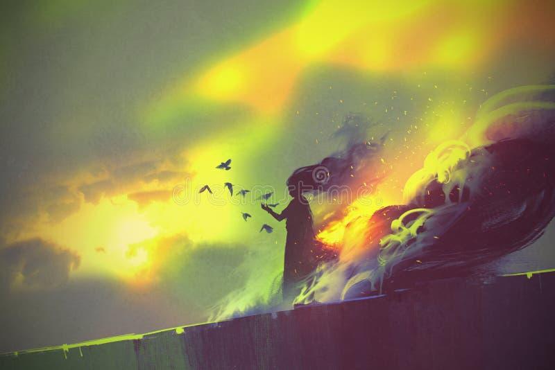 Burning woman,illustration stock illustration