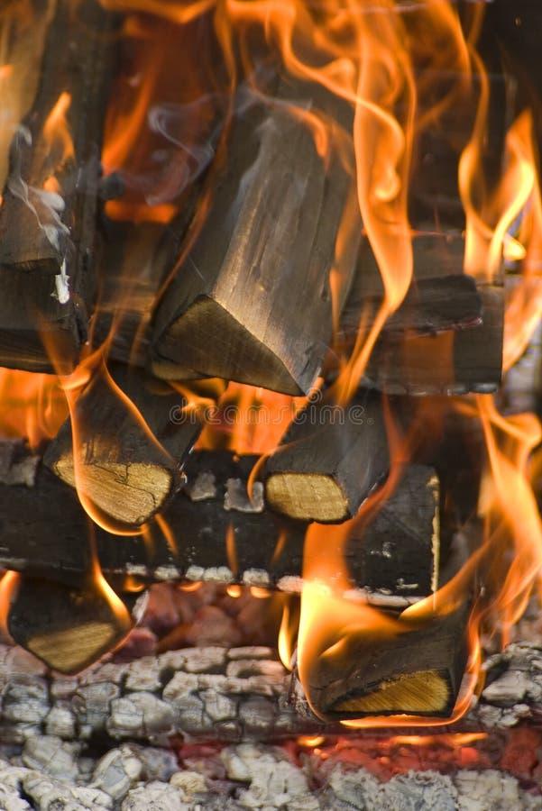 Burning wood stock photo