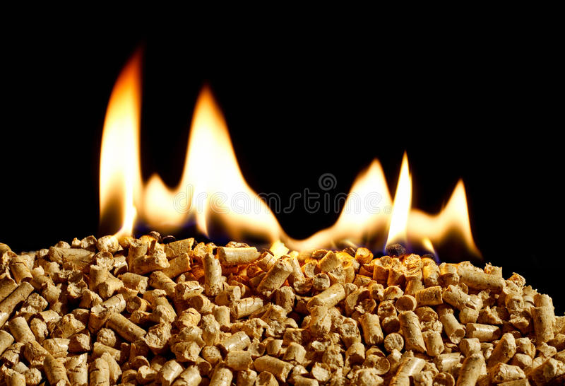 Burning Wood chip biomass fuel a renewable alternative source of stock images