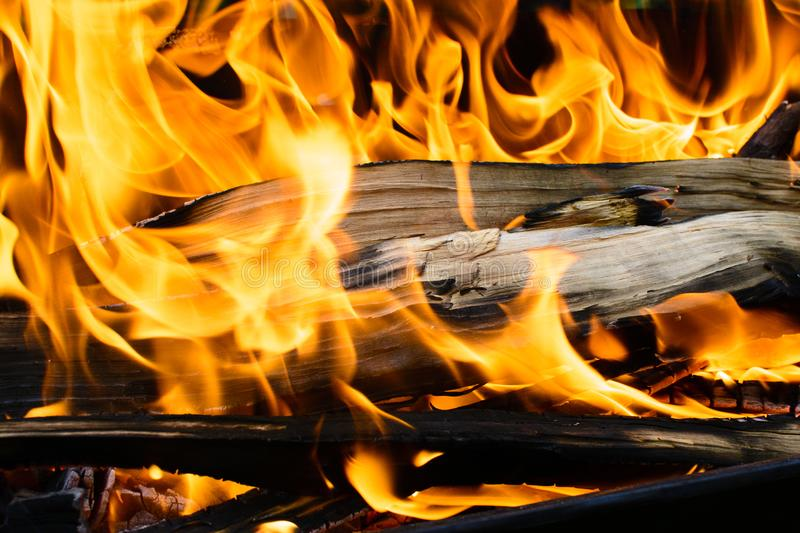 Burning wooden log covered with red fire. Grilled fire in the barbecue. Dangerous for burns. Background with fire and wood royalty free stock photos