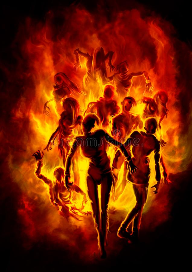 Burning zombies stock illustration