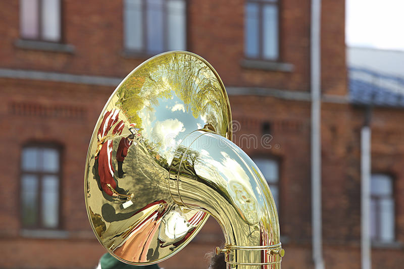 Burnished Trumpet during Outdoor Concert royalty free stock photos